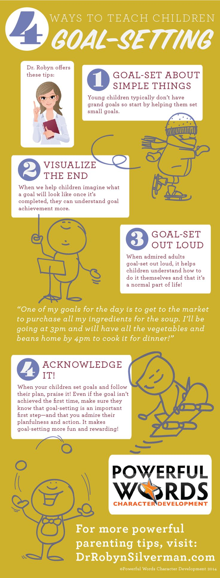 4 Ways to Teach Children about Goal-Setting #Infographic #Parenting http://www.drrobynsilverman.com/