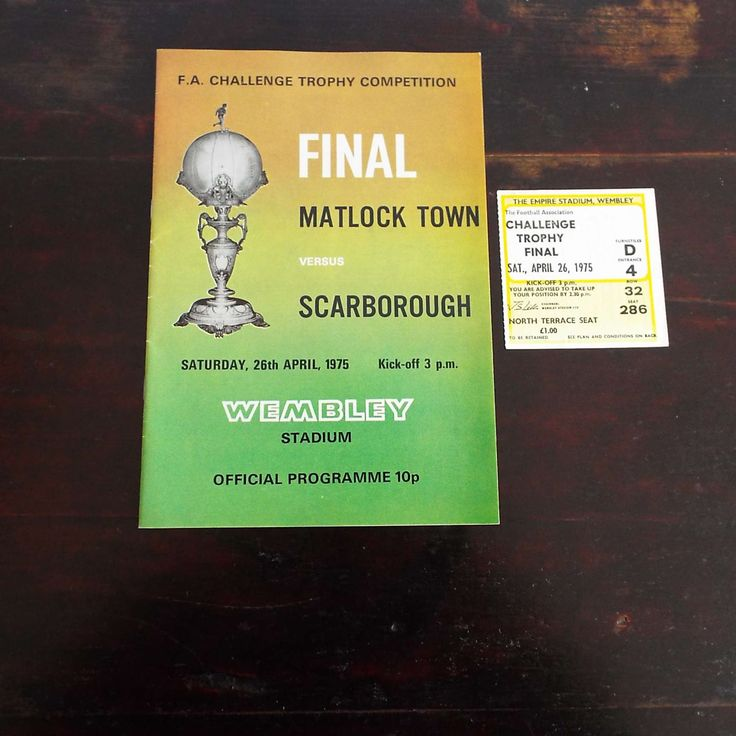 Vintage Matlock Town Versus Scarborough Football Soccer Programme With Ticket F A Challenge Final by VintageBlackCatz on Etsy