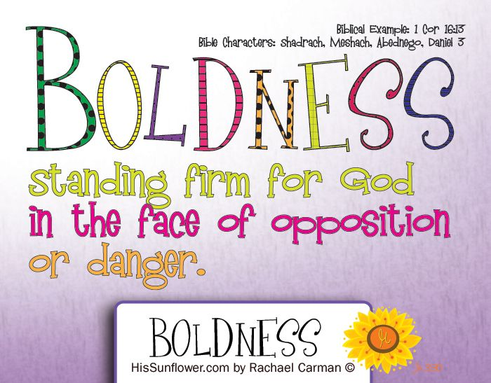 Character Quality: Boldness  -  Standing firm for God in the face of opposition or danger. {free} coloring page  HisSunflower.com by Rachael Carman