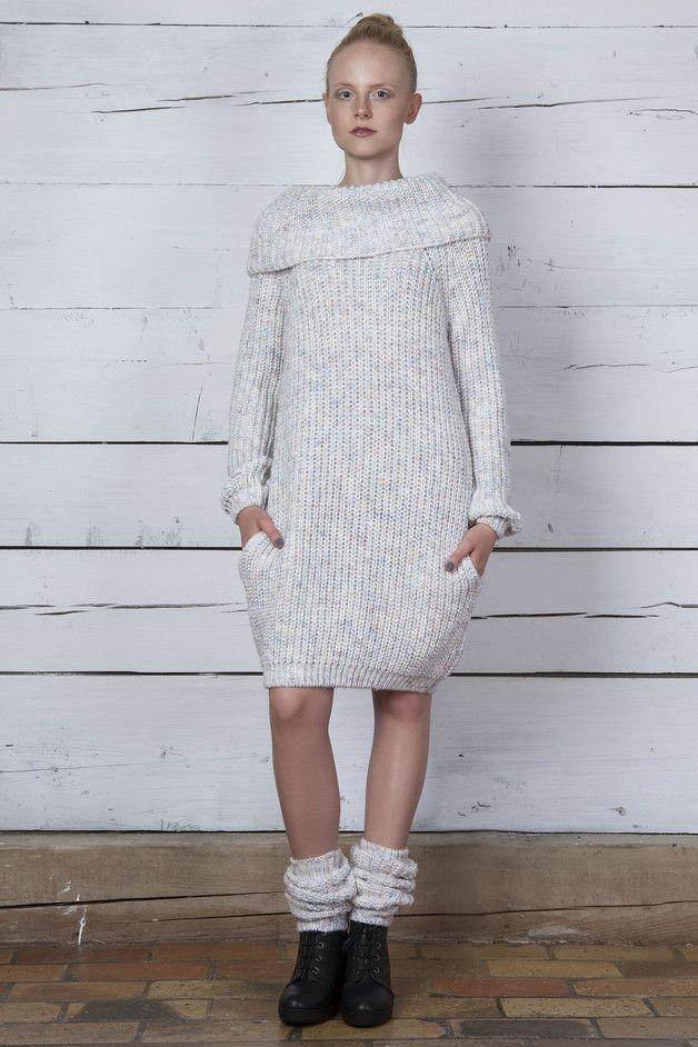 Sukienka z kieszeniami z melanżowej przędzy - MilenaBienkowska - Sukienki z dzianiny