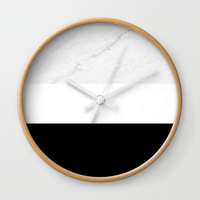 Marble Black White Wall Clock By Artbyjwp From Society6 Marble Clock Wallclock Shop Walldeco Homedecor Dec Teal Wall Clocks White Wall Clocks Wall Clock