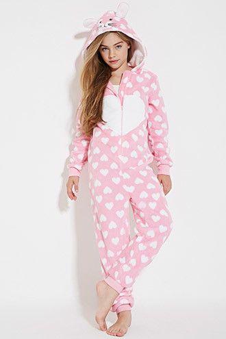 Girls Plush Bunny PJ Jumpsuit (Kids) | Forever 21 Girls - 2000147401