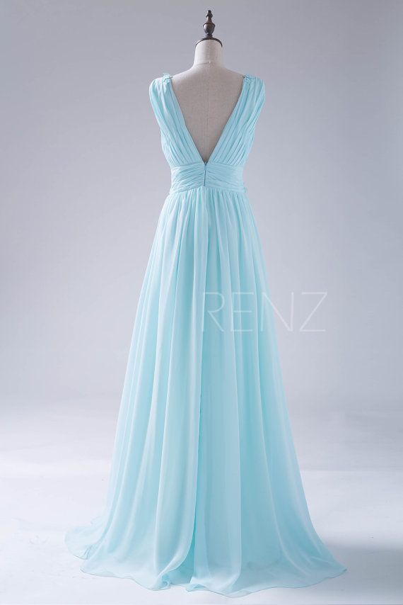 2015 Sky Blue Bridesmaid dress Flower Deep V neck by RenzRags