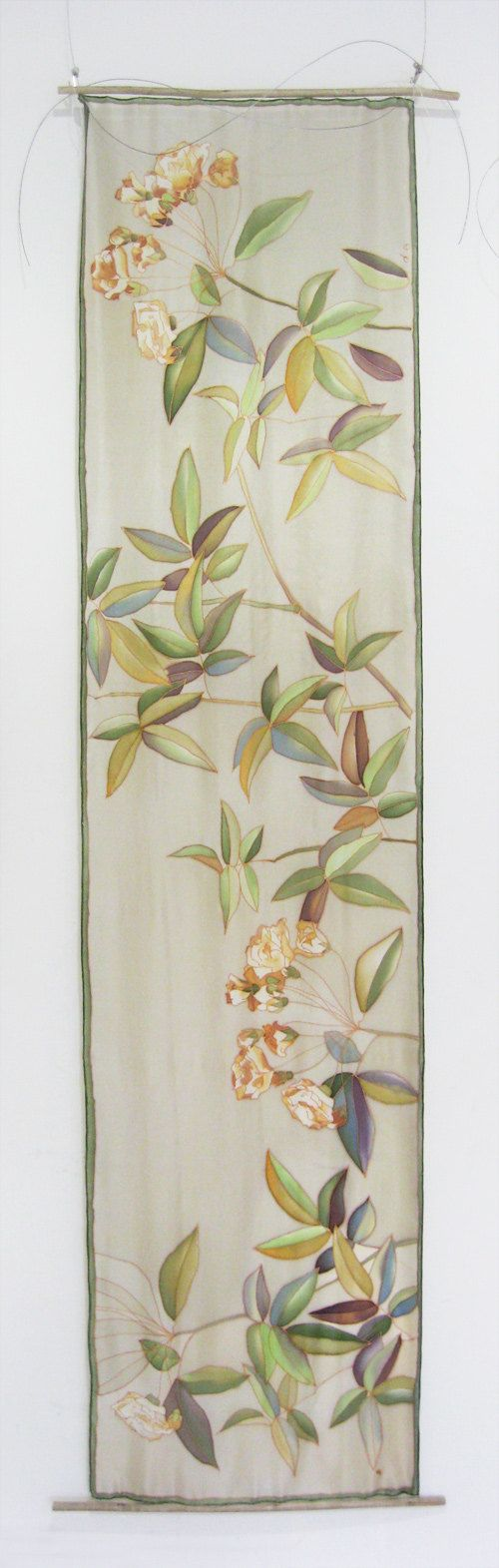 Hand painted long silk scarf Botanical home decor by DEsilk