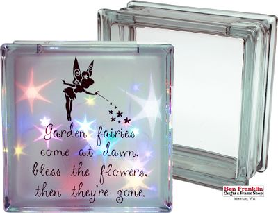 """DIY Fairy Night Light with Holographic Paper.  If you have a little girl in your life, she will love this fairy light! This is such an easy decoration to make, and you're in luck because our 7.5"""" x 7.5"""" glass blocks will be on sale starting tomorrow, April 22 through May 8, 2016 for $7.99 (Reg. $11.99)."""