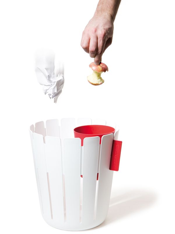 Waste basket with a separate container for paper and a lidded one for unsightly food/wet garbage.