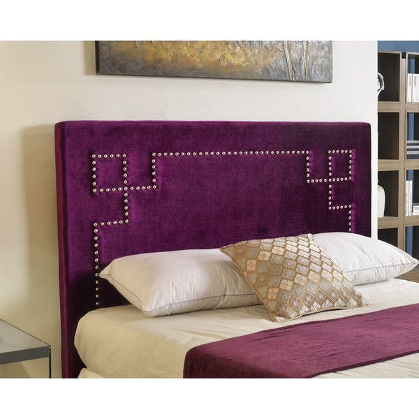 Luxurious nailhead trim headboard in a beautiful purple or blue velvet upholstery. The unique design provides an interesting focal point to tie your room together. - Type: Upholstered - Product Featur