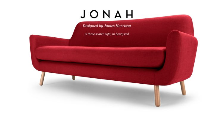 Jonah 3 Seater Sofa in berry red | made.com