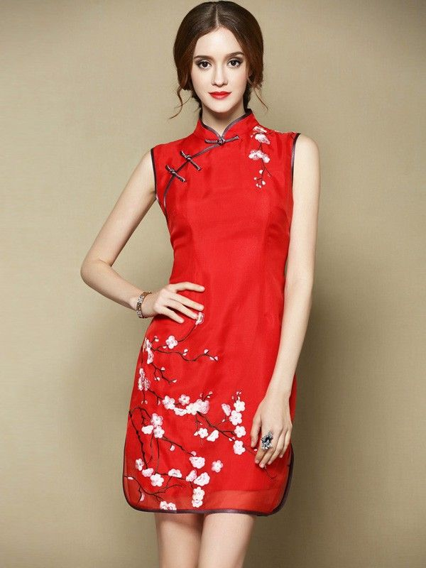 Bright Red Embroidered Qipao / Cheongsam Dress in Mulberry Silk