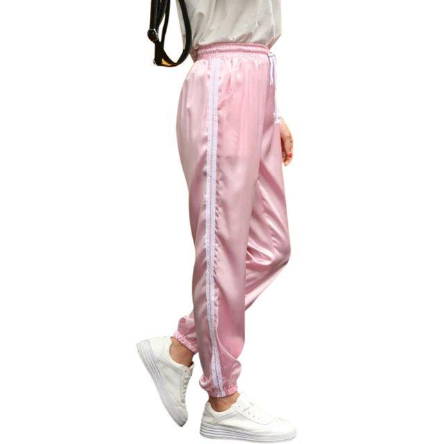 Top Sale $13.88, Buy 10 Color Sweatpants Women Elastic High Waist Pants 2017 Sportswear Casual Baggy Pink Striped Ladies Trousers Pantalon Femme