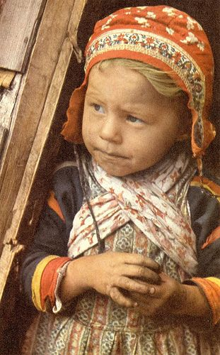 Sami (Finnish) girl in traditional clothes - Vintage