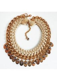 FIRE DE MURG GOLDEN NECKLACE WITH DUBBEL BRAIDS CHARMS AND BEADS BEIGE http://bit.ly/Z2uyFx wearitwithlove.com | Contemporary Fashion. Young Designers