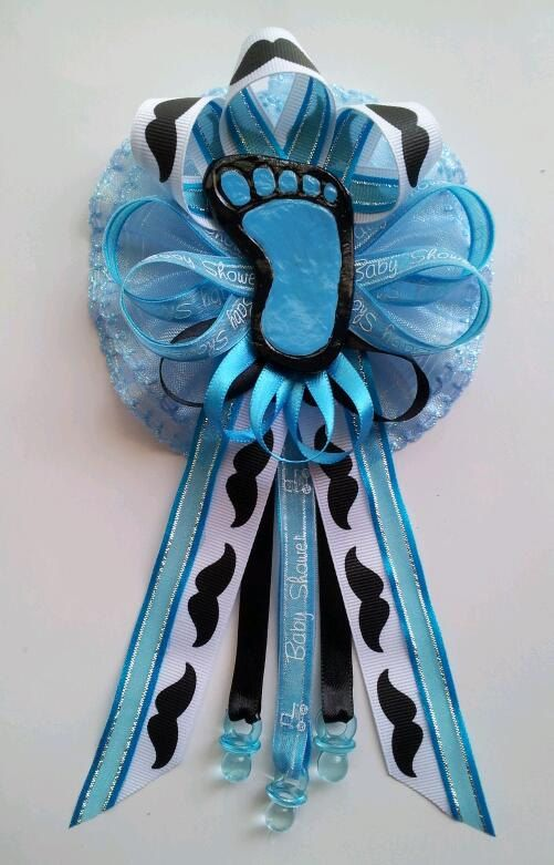 Mustache Theme Mommy Baby Shower Corsage With Baby Footprint Centerpiece