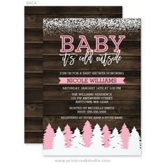 Baby It's Cold Outside Winter Girl Baby Shower Invitations