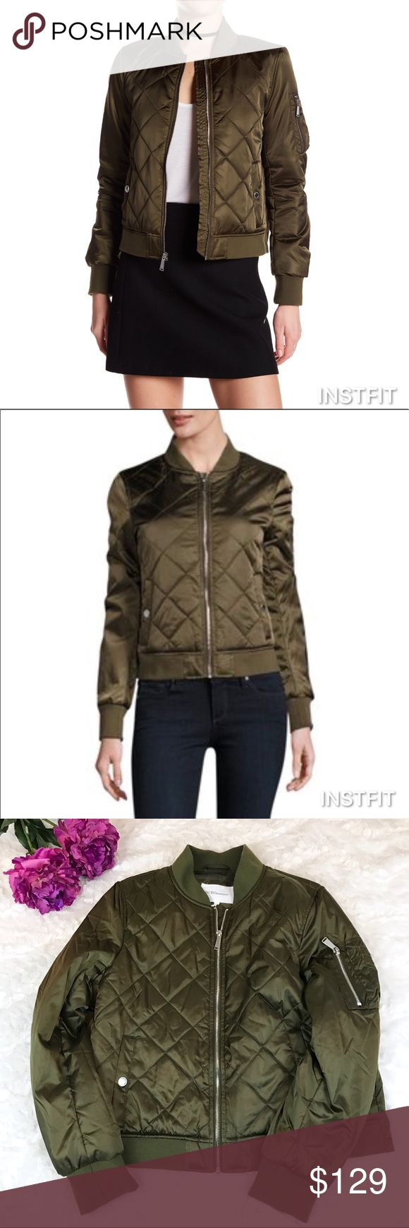 """BCBGeneration Olive Quilted Bomber Jacket BCBGeneration Olive Quilted Bomber Jacket. New with tags! Olive/Army Green Quilted Bomber Jacket with Silver Buttons and Zipper. Length: 24"""" Bust: 22"""" Flat Across Arm: 25"""" BCBGeneration Jackets & Coats"""