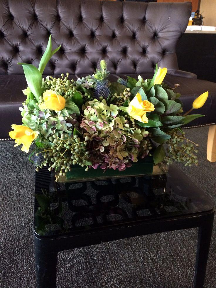 Coffee Table floral arrangement Hydrangeas Tulips Fresias Kale Berries www.bespokesocial.com.au