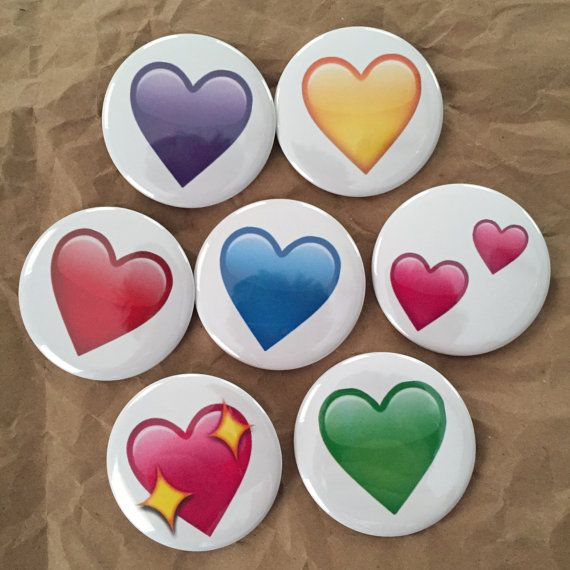 Heart Emoji buttons by HypotheticalButtonCo on Etsy