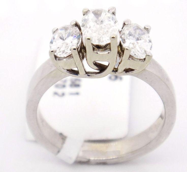 Bold 14k White Gold SI1/G 1.38CT, Three Stone Oval Diamond Engagement Ring,6.5 #TheDiamondGuru #engagement #Engagement