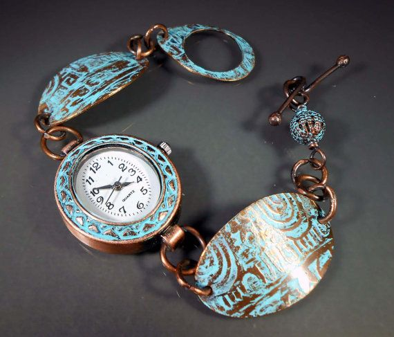 """For 10% off this item use coupon code PINTEREST at checkout! -- READY to SHIP Hand Etched Verdigris Copper Ladies' Bracelet Watch - Size 7"""""""