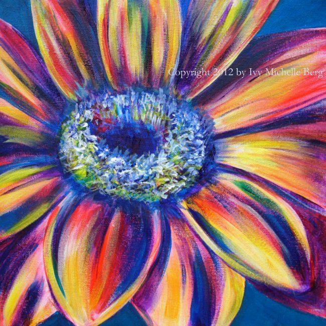 Gerber daisy art print of acrylic floral painting by for Floral acrylic paintings