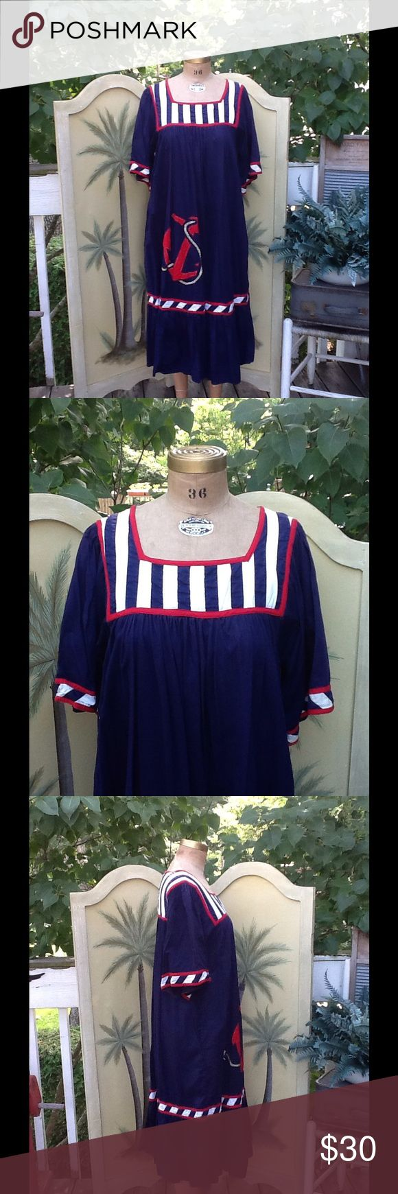 """Vtg Hippie Nautical Festival Tent Style Dress How cute is this dress? It's a VTG hippie nautical theme festival tent dress...its in a navy blue with red & white trim features an anchor on the bottom right side, ruffled hem side seam pockets...perfect cruise dress/coverup for sitting by the pool or just strolling through the islands,it's a Sz S made in INDIA 100% Cotton,in excellent condition! Measurements: L:46"""", B:21 3/4"""" double, Sh:15"""", SL/13"""", W: free Vintage Dresses Maxi"""