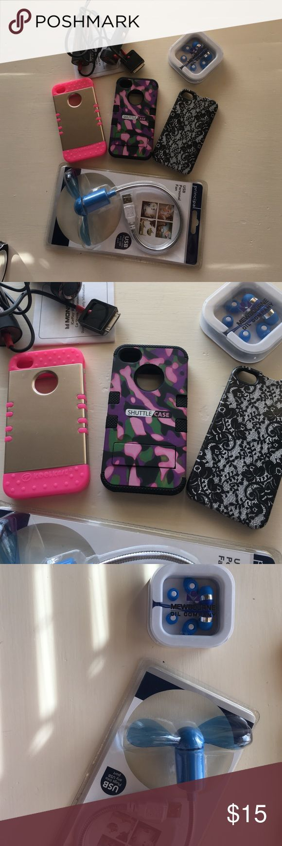iPhone 5S bundle Includes 3 phone cases, new earbuds, car adapter, and computer fan (new) Accessories Phone Cases