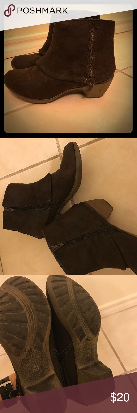 Brown Suede Booties Brown Suede Booties. Size 6.5. Signs of wear as shown in photos. Worthington Shoes Ankle Boots & Booties