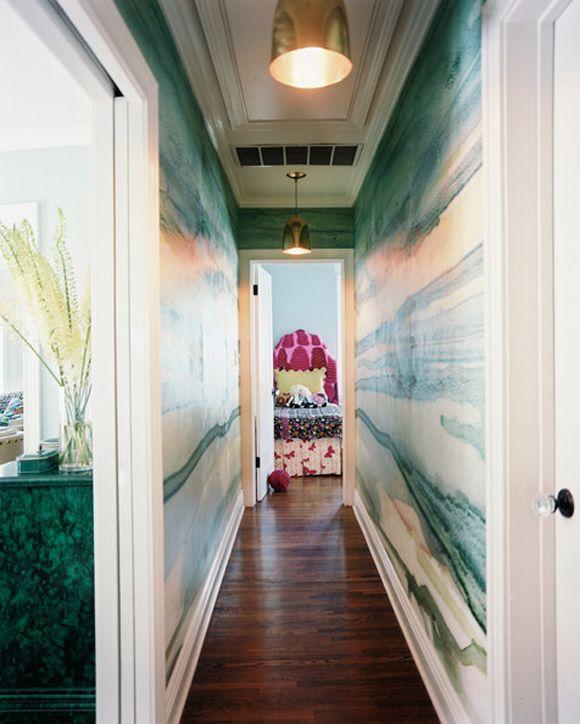 Little Green Notebook: Lonny Feature  hallway paint & light fixtures