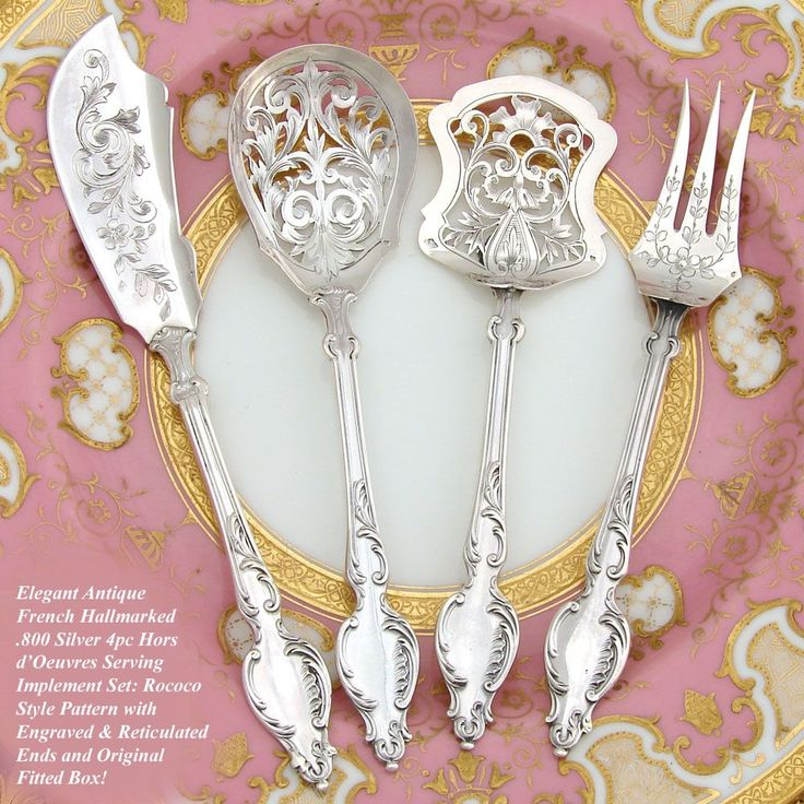 Lovely Antique French Hallmarked Silver 4pc Hors dOeuvre Serving Implement Set, Box