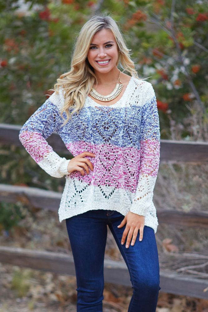 The one remaining trend that continues to look amazing is stripes and with this striped colorblock knit sweater with sequin accents, you will be sure to always shine in style.