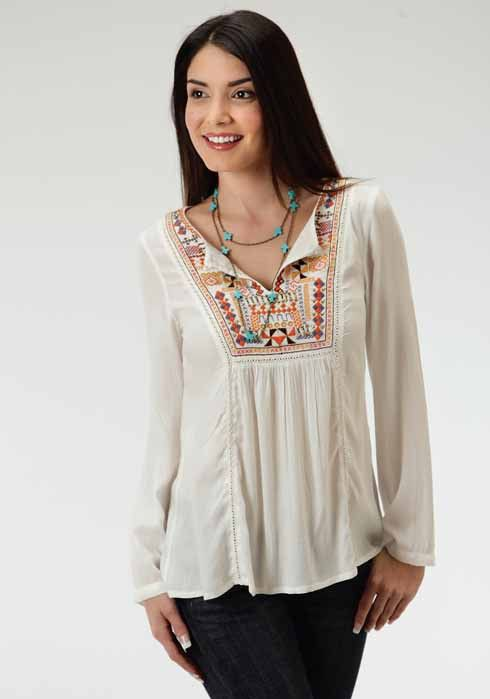 Roper Women's Cream Embroidered Peasant Blouse - Very Pretty Peasant Blouse In Soft Rayon Challis - Embroidered And Beaded Front Yoke With Hemstitch Detail - Split Neck Opening With Loop And Button Cl