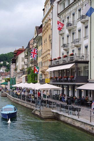 Lucerne, Switzerland. I have actually stayed in the white hotel on the right in this pic! Love Lucerne!