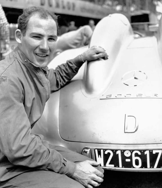 Stirling Moss, Mercedes 300 SLR 1955. Mercedes quit racing after the terrible Pierre Levegh accident at the 55 Le Mans, so Stirling moved on to Maserati for the '56 season.