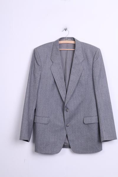 Hugo Boss Mens L Blazer Jacket Top Suit Grey Wool Striped Vintage - RetrospectClothes