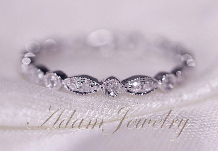 Art Deco Full Eternity Band 14K White Gold Wedding Ring Pave Diamonds Wedding Ring/ Promise Ring/ Engagement Ring/ Matching Band by AdamJewelry on Etsy https://www.etsy.com/listing/180962615/art-deco-full-eternity-band-14k-white