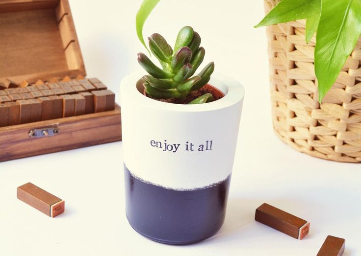 "Cactus, Succulent, Large black or gold Vase, Planter ""enjoy it all"" inspiring gift, christmas stocking, wedding gift with or without plant"