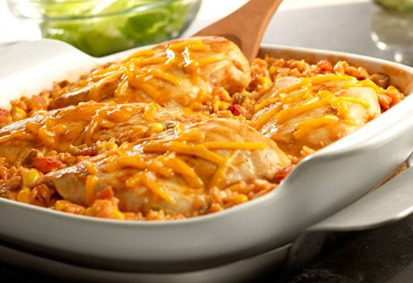 Campbell's Tex-Mex Chicken & Rice Bake Recipe recreate with natural or homemade salsa, organic cream of chicken soup with no msg, and long grain brown rice. Top with avocado slices