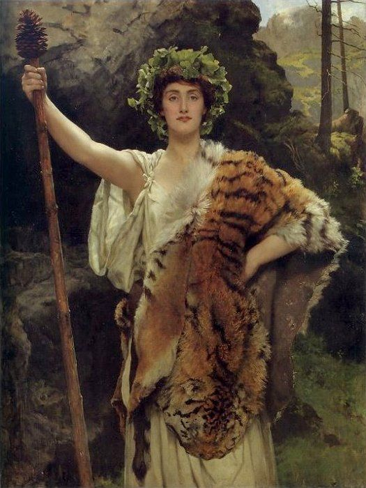 """The Priestess of Bacchus, John Collier, 1885-89  {I want to make a staff like that to be the """"Priestess of Buck Lake"""" ... LOL!}"""