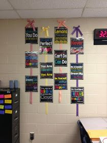 Make encouragement posters like these with black backgrounds and bright colored chalk font.