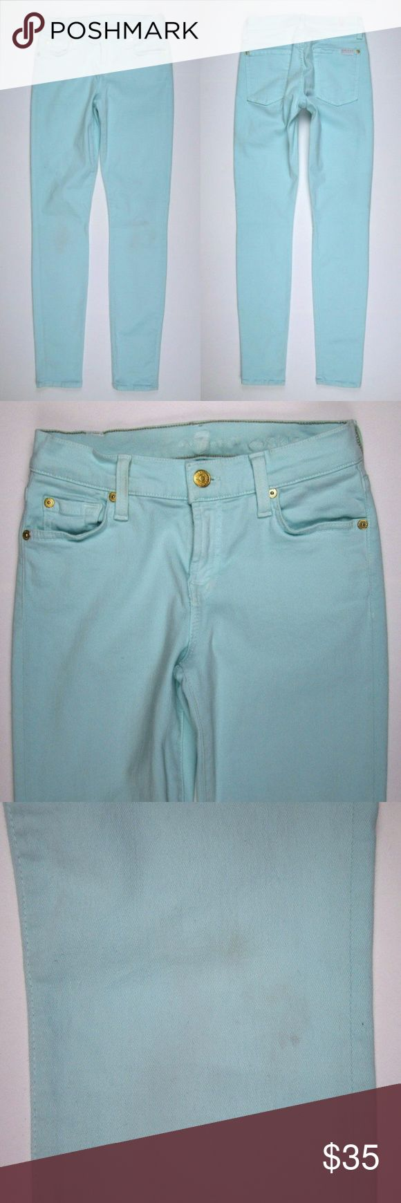 """7 for all Mankind 25 Skinny Mint Green Jeans 7FAM for all Mankind Womens 25 The Skinny Stretch Mint Green Jeans  Brand: 7 for all Mankind Labeled Size: 25  Measurements: Waist (flat across): 12.5"""" Rise: 8"""" Inseam: 29.5""""   In Used Condition with wash wear and light fading.  There is some very faint discoloration on the back of the knee area.  Please refer to pictures!  SKU: R18 7 For All Mankind Jeans Skinny"""