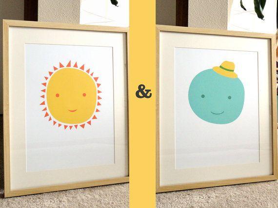 ms sun mr moon 2 modern design prints or 13x19 posters for nursery or children. Black Bedroom Furniture Sets. Home Design Ideas