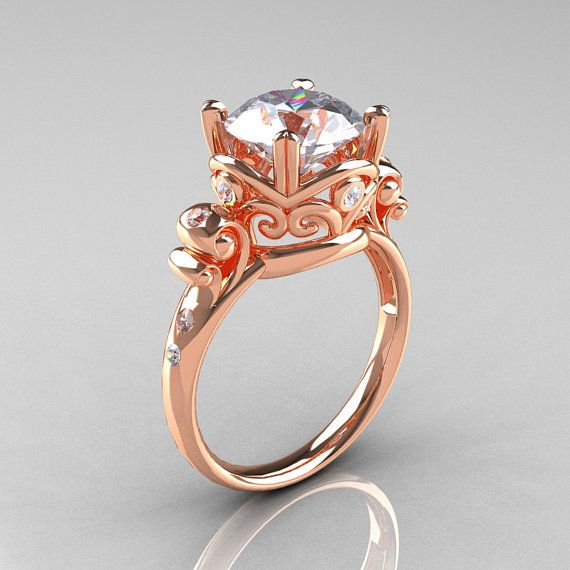 14 K Rose Gold ring with a 2.5 carat white sapphire diamond. So beautiful and unique.