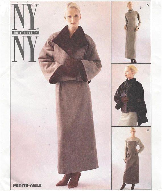 90s NY NY Womens Lined Swing Jacket & Ankle Length Dress