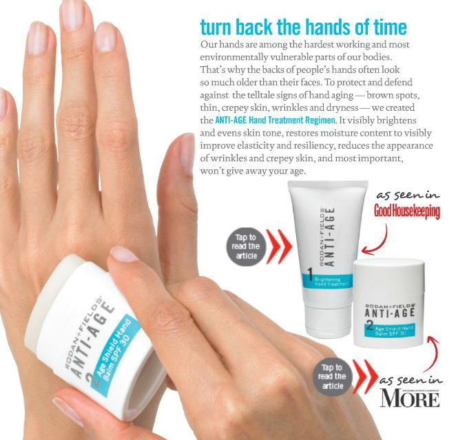 Anti Age Products in the Media. Rodan + Fields can keep Father Time from turning your hands into something from Tales from the Crypt. These are, hands down, the best two products for your paws! Contact me to get your paws on some today!