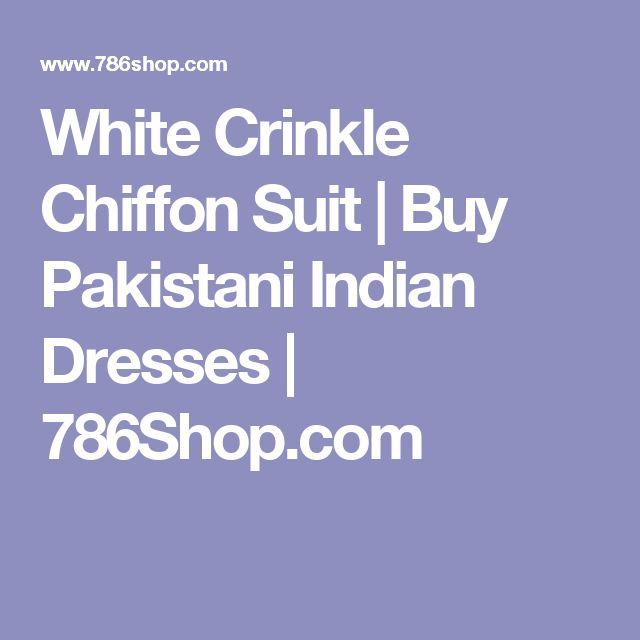 White Crinkle Chiffon Suit | Buy Pakistani Indian Dresses | 786Shop.com