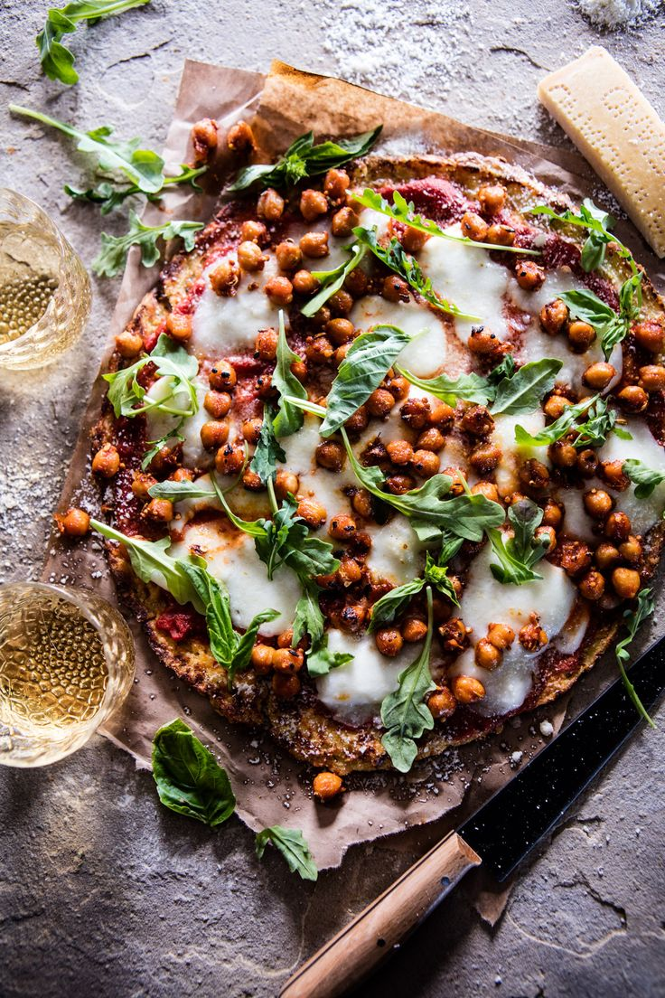 """Cauliflower Crust """"Pizza"""" with Chickpea """"Pepperoni"""" - simple, healthy and delicious, from halfbakedharvest.com"""