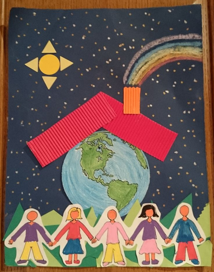 El planeta Tierra es nuestra casa, cuídalo. Manualidad realizada por los niños de 2º de Educación Infantil (4 años) en el CEIP Alhambra. Es una actividad que también puede valer para el día de la paz