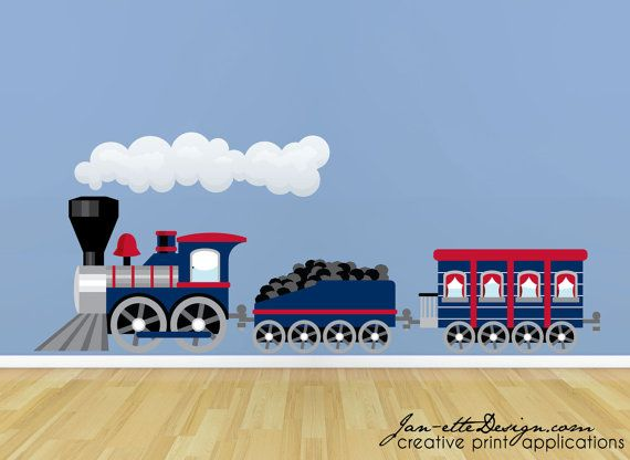 Large Blue Train Room Theme Fabric Wall Decal Set by JanetteDesign, $75.00