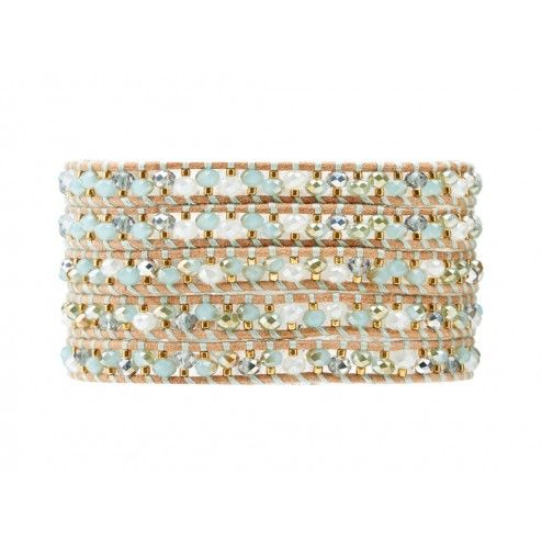 Chan Luu Mint Mix Gold Bead Wrap Bracelet