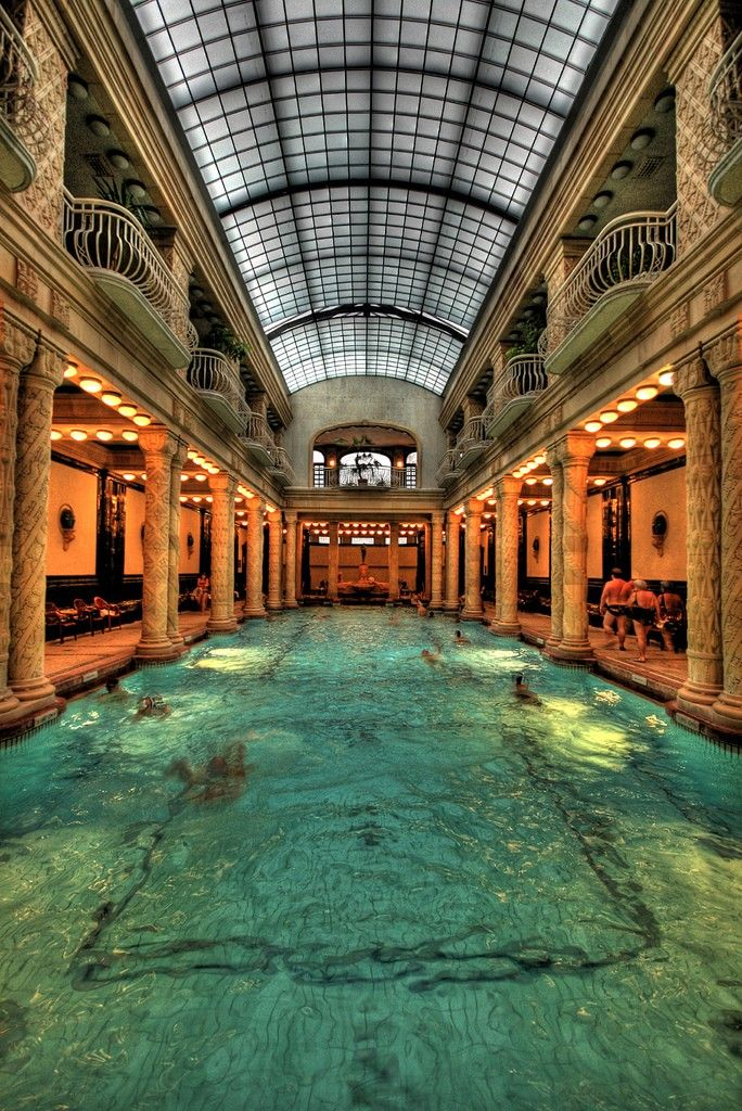 Gellért Baths, Budapest. I'd love to swim in such a magical pool!